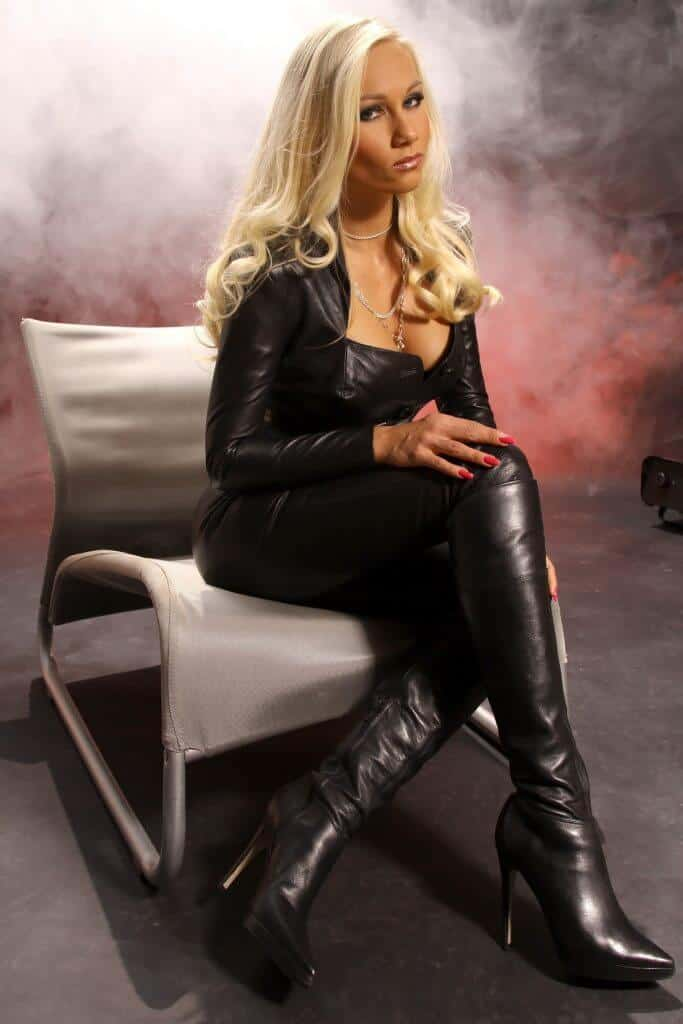 Blond in a leather suite
