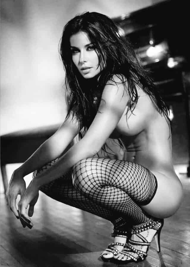 crouching with a fishnet