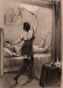 drawing of a whipping mistress