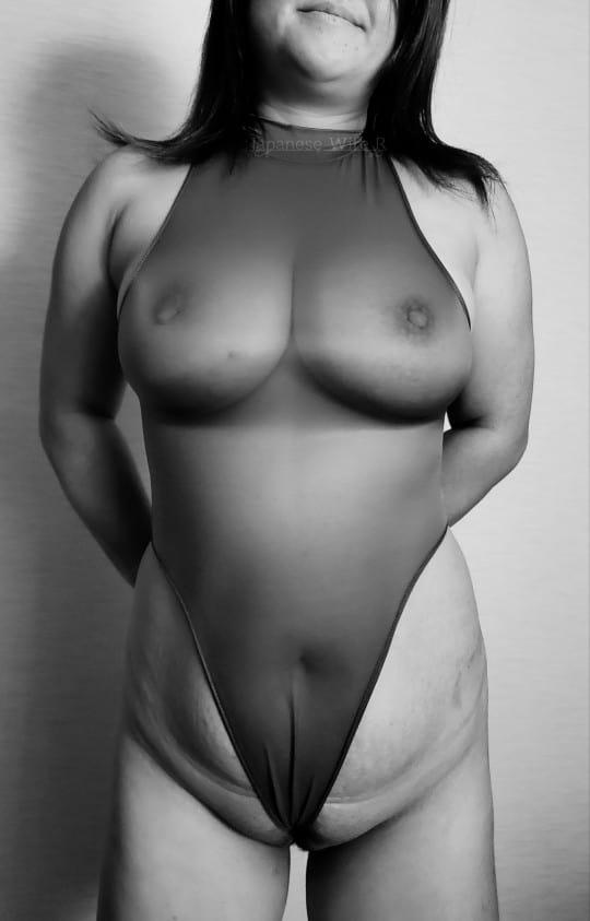 mature woman in a sheer leotard