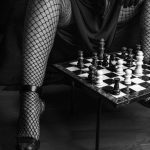 chess pieces and fishnet